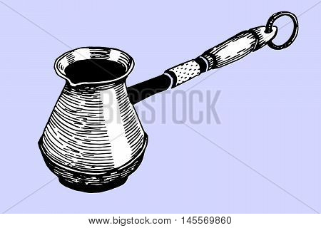 Vector vintage coffee Cezve. Ink and pencil drawn cezve in sketch style. Doodle style Cezve. Turkish coffee pot. Ibrik. Copper pot.