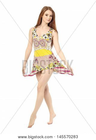Charming caucasian woman wearing dress isolated on white