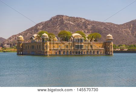 JAIPUR INDIA - 22ND MARCH 2016: Jal Mahal palace on Man Sagar Lake in Jaipur during the day.