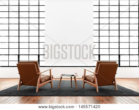 Modern interior studio loft huge panoramic window, natural color floor.Generic design furniture in contemporary business conference hall.Chillout lounge zone.Blank white poster hanging. 3D rendering