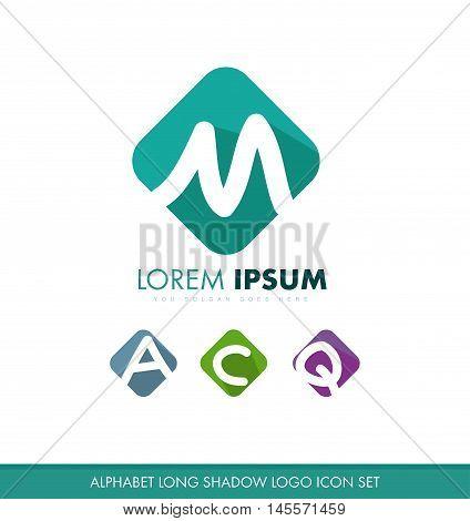 Alphabet letter m a c q x flat long shadow pastel color logo icon vector company element template