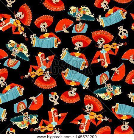 Dia de Muertos. Mariachi band of skeletons and La Calavera Catrina. Mexican tradition. Vector illustration poster