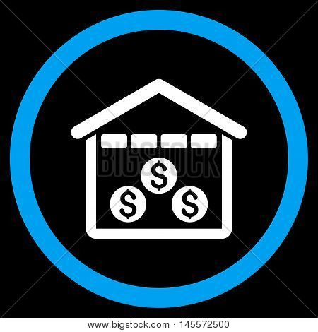 Money Depository vector bicolor rounded icon. Image style is a flat icon symbol inside a circle, blue and white colors, black background.