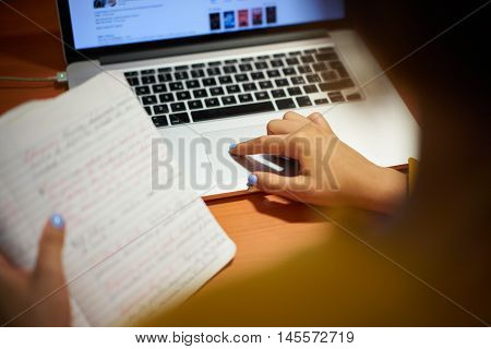 Girl College Student Doing Web Search On Laptop At Night