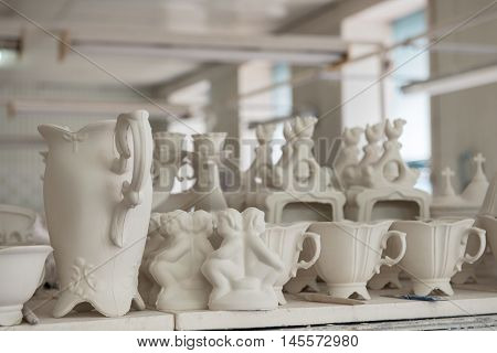 Formed clay ware under production in potter's workshop
