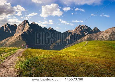 Hillside Path To Mountain Peaks