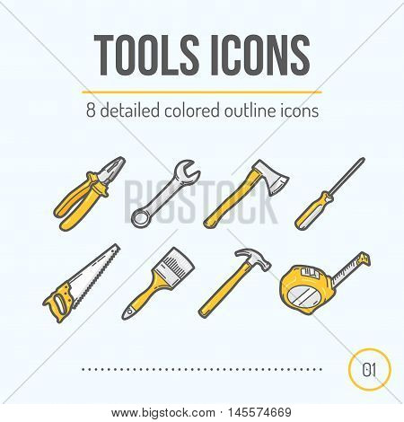 Tools Icons Set (Pliers Wrench Axe Screwdriver Saw Brush Hammer Tape Measure). Trendy Thin Line Design. Colored Version. Vector Illustration.