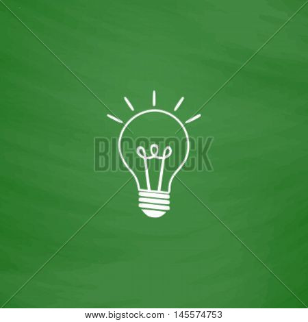Light lamp Simple vector button. Imitation draw icon with white chalk on blackboard. Flat Pictogram and School board background. Illustration symbol