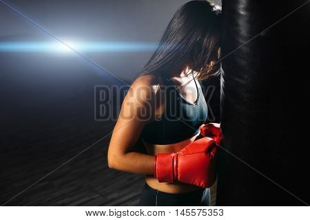 Sexy Fighter Girl With Boxing Bag
