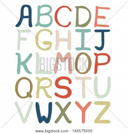 Colorful hand drawn abstract alphabet. Alphabet isolated flat style font isolated type. Children ABC for decoration of kids illustration websites posters comics and banners. Vector illustration.