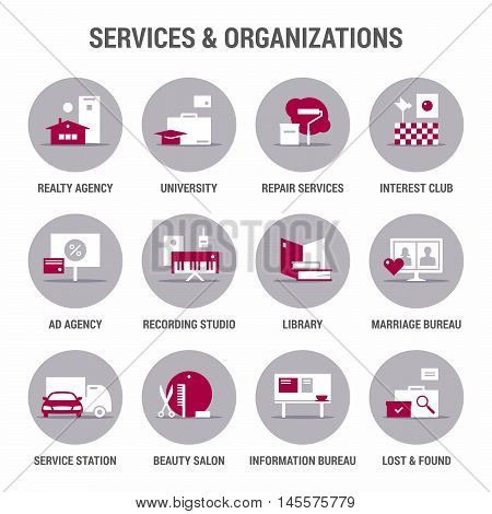 Icons set of services and organizations. Flat. Color 2.