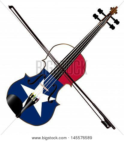 A typical violin with Texan flag and bow isolated over a white background