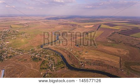 Aerial photo of fields and river. Stock Image.