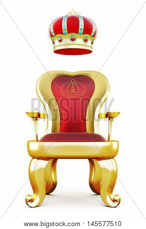 Golden Throne With A Crown At The Top.