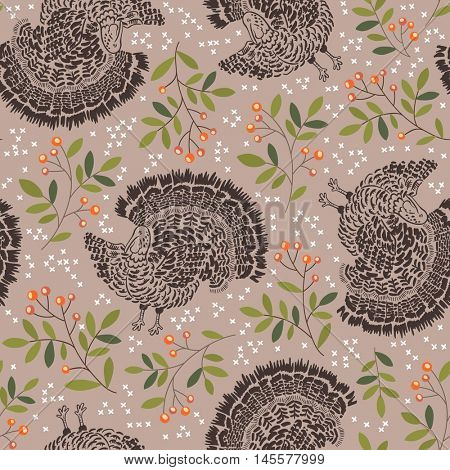 Vector seamless pattern with turkeys. Thanksgiving background