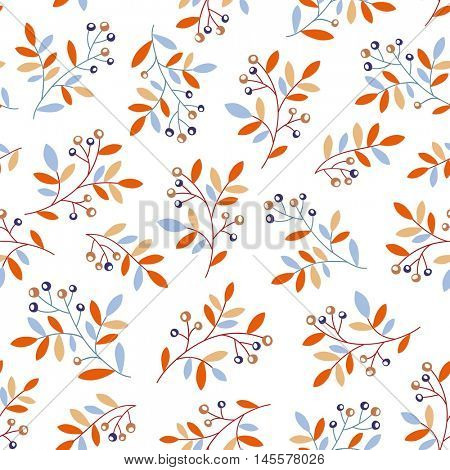 Seamless vector pattern with branches and berries. Seasonal background