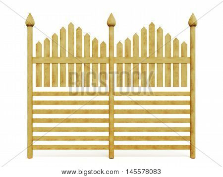 Wooden Fence Isolated On White Background. 3D Rendering