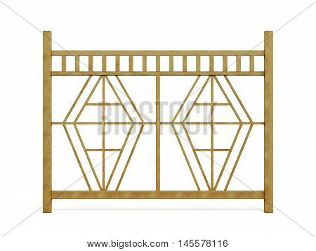 Section Of Wooden Fence Isolated On White Background. 3D Rendering