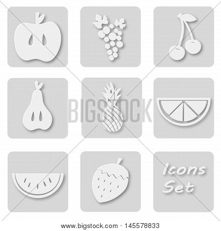 Paper set of fruits icons. Papery stickers with apple, grape, cherry, pear, ananas, orange, watermelon, strawberry Signs for web design