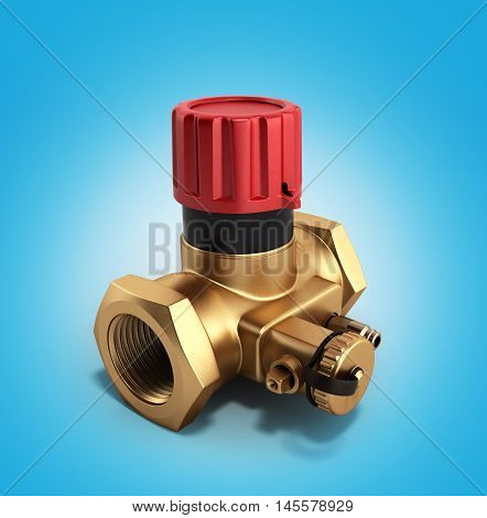 The Water Supply Crane Valve Manual 3D Render On Blue Gradient