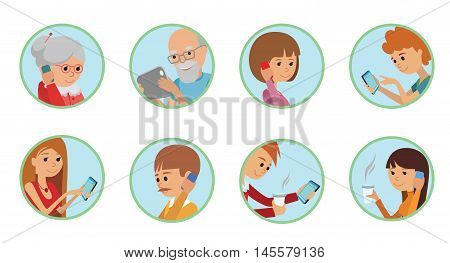 Family vector illustration flat style people faces online social media communications. Man woman parents grandparents with tablet phone round set isolated white background.