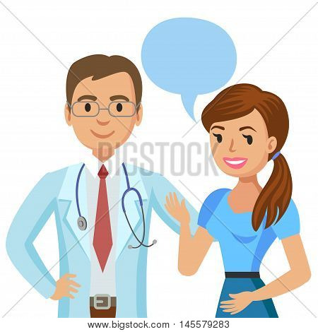 Doctor and patient. Woman talking to physician. Vector illustration