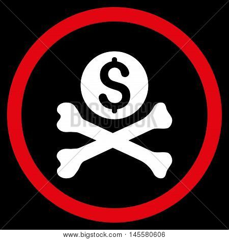 Mortal Debt vector bicolor rounded icon. Image style is a flat icon symbol inside a circle, red and white colors, black background.