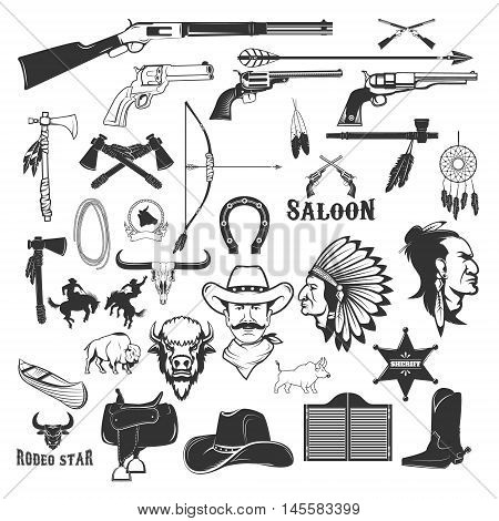Cowboy and native american indians design elements. Vector illustration.