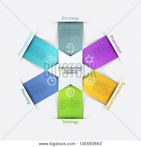 Vector star arrows ribbons infographics set. Template for diagram, graph, presentation and chart. Business concept with 6 options, parts, steps or processes. Abstract background.