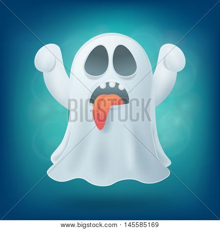 cartoon ghost with tongue on blue background. Halloween party design element vector illustration