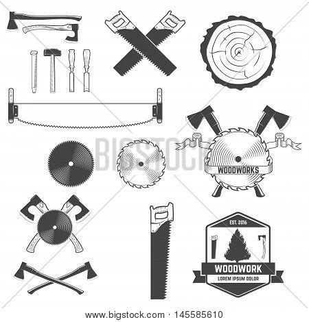 Set of monochrome design elements for woodworks labels and emblems. Design element for logo label emblem sign brand mark. Vector illustration.