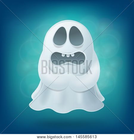 upset cartoon ghost on blue background. Halloween party design element vector illustration