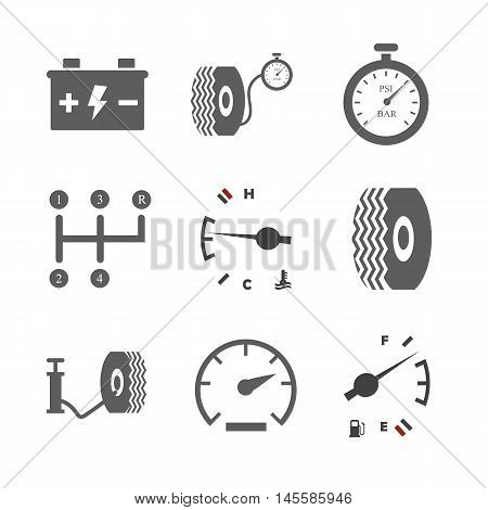 Car icon set. Tire icon. Tire compressor. Car battery. Fuel level. Temperature icon. Speed icon. Vector illustration