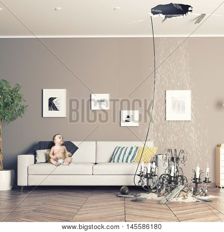 broken ceiling in the room and baby inside. 3D & photo combination concept