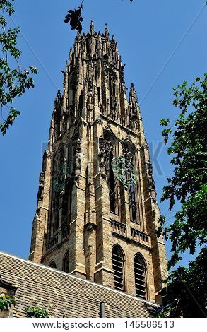 New Haven, Connecticut - June 19, 2013:: The elegant neo-gothic Harkness Tower at Yale University's Branford College