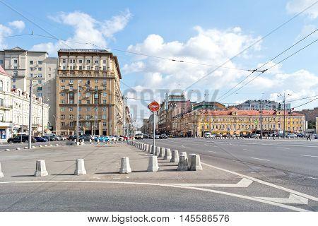 MOSCOW RUSSIA - September 02.2016: Tverskaya Zastava Moscow city. Tverskaya Zastava square and 1st Tverskaya-Yamskaya Street which leads to the Kremlin