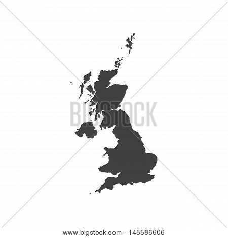 United Kingdom of Great Britain map silhouette illustration on the white background. Vector illustration