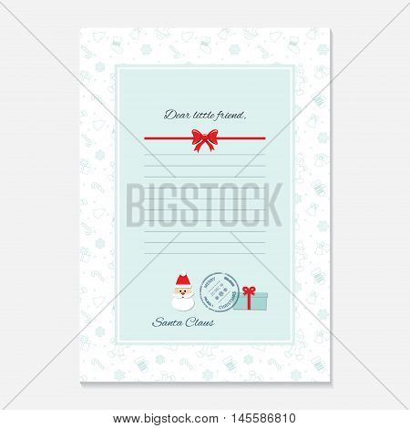 Christmas letter from Santa Claus template. layout in A4 size. Pattern with Gingerbread men and Mittens added in swatches. poster