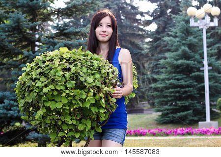 Girl next door with a decorative Bush in the garden.