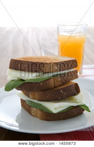 Egg White Sandwich With Orange Juice