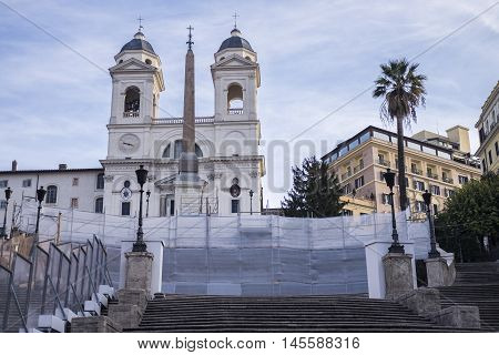 Italy, Rome, Piazza di Spagna - The Spanish Steps is closed for renovations. The cost is about €.15 mln (entirely funded by BVULGARI) and the end of work is planned for August 2016