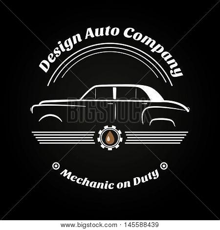 Retro vintage car logo,business signs. Labels mechanism. Vector illustration.