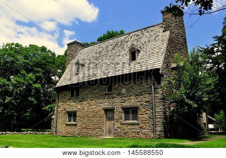 Guilford Connecticut: The historic stone 1639 Henry Whitfield House and Museum originally served as both a protective fort and the minister's home