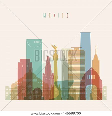 Transparent styled Mexico City skyline detailed silhouette. Trendy vector illustration.