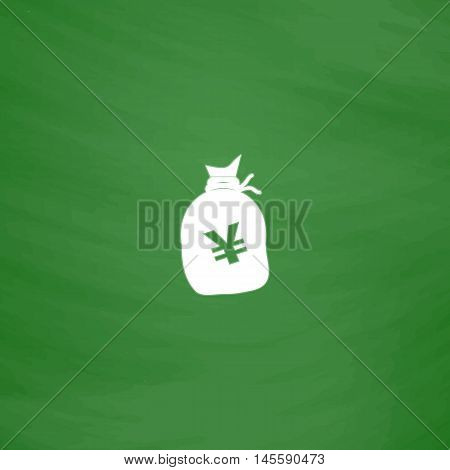 Yen bag Simple vector button. Imitation draw icon with white chalk on blackboard. Flat Pictogram and School board background. Illustration symbol
