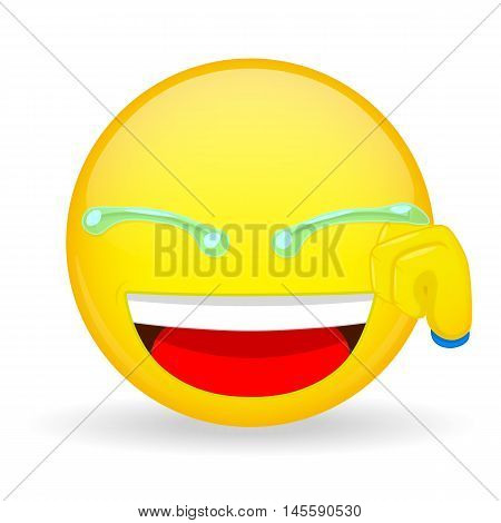 Emoticon hand wipes tears. Laugh emoticon. Smiling emoticon. Joke emoji. Funny emotion. Vector illustration smile icon.