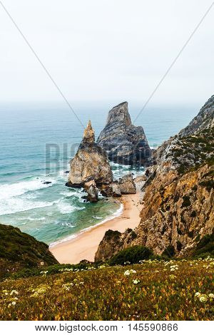 Ursa Beach - Viewpoint at the coast of Portugal near Cabo da Roca, Cape Roca. Sintra