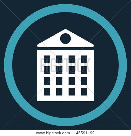 Multi-Storey House vector bicolor rounded icon. Image style is a flat icon symbol inside a circle, blue and white colors, dark blue background.