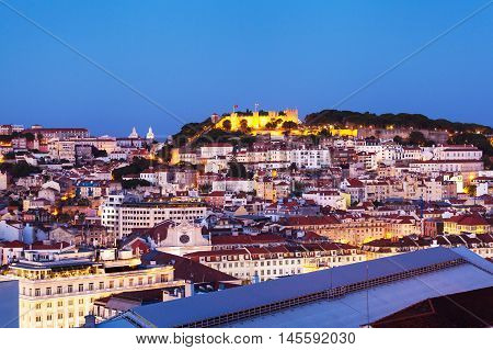 View of the central part of the Lisbon from Santa Justa Lift, Portugal. Aerial view.