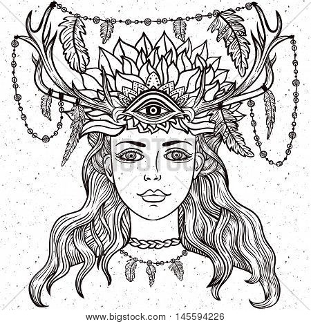 Hand drawn beautiful artwork of female shaman with third eye. Alchemy religion spirituality occultism tattoo line zentangle hipster art coloring books.Isolated vector illustration.Feathers horns